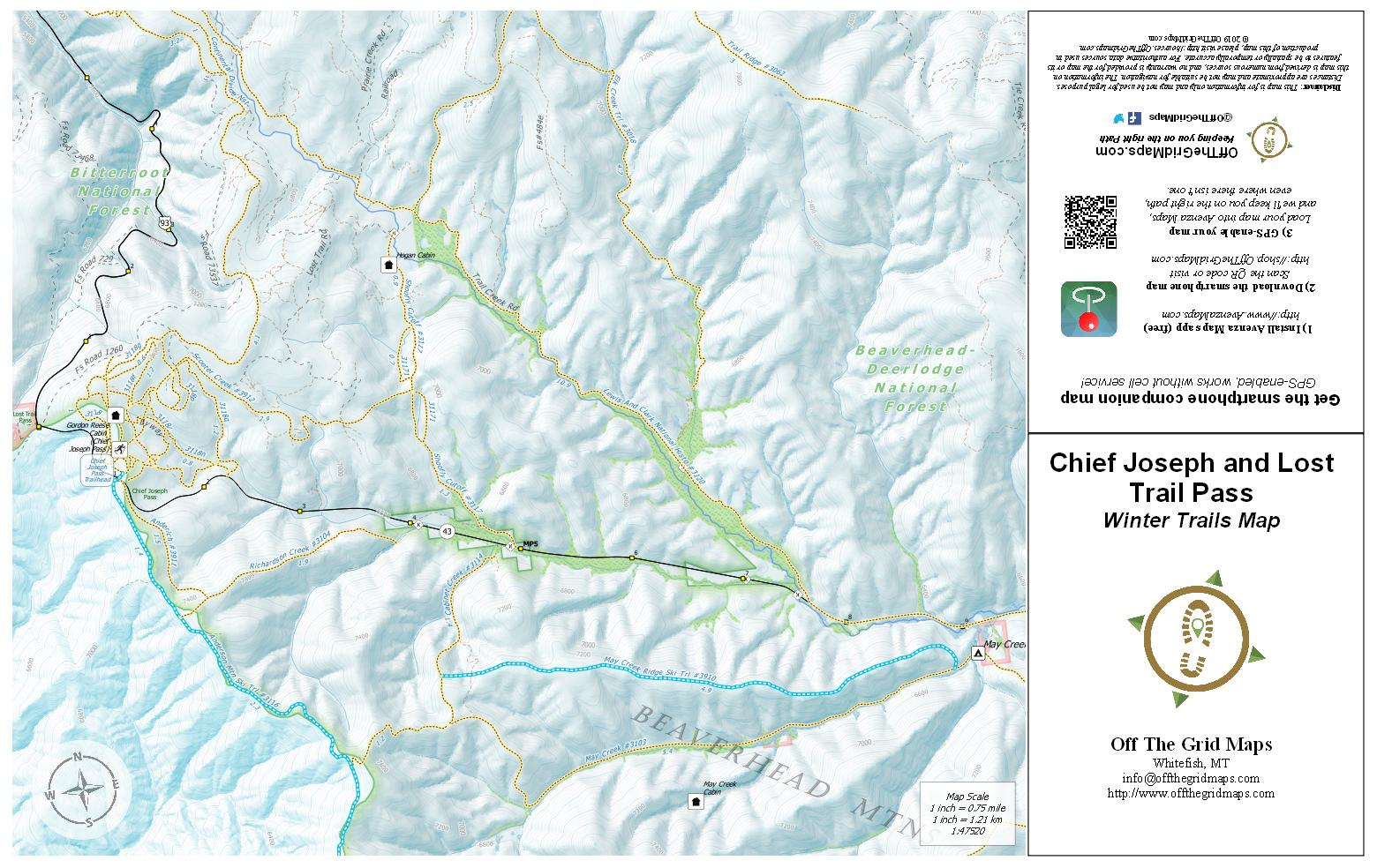 Chief Joseph and Lot Trail Pass Winter Trails map