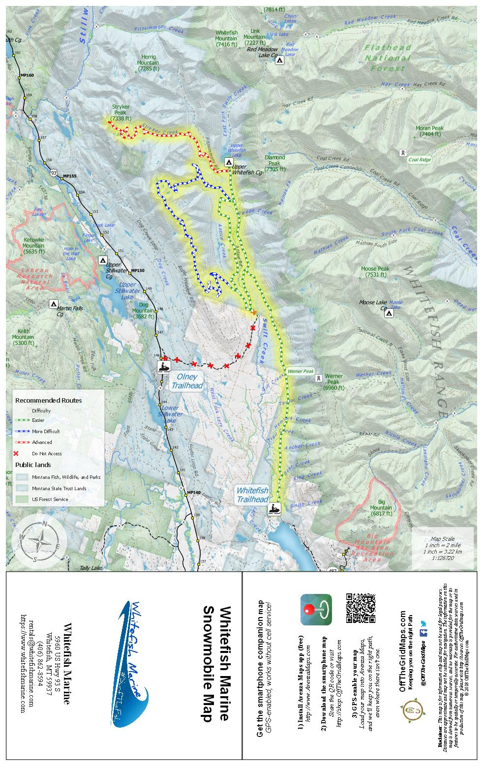 Whitefish Marine Snowmobile Map - OffTheGridMaps